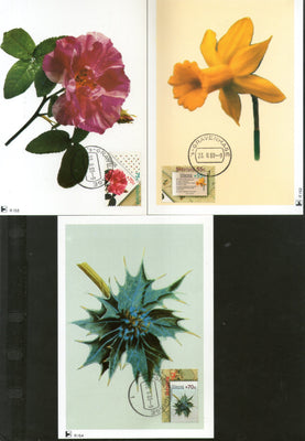 Netherlands 1988 FILACEPT Flowers Flora Sc B635-7 Set of 3 Max Cards # 19 - Phil India Stamps
