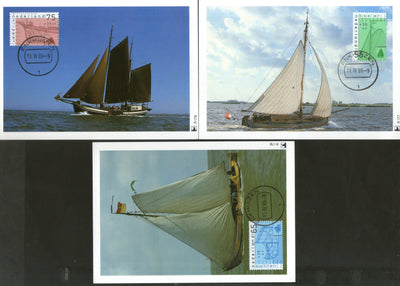 Netherlands 1989 Ships Fishing Boat Yacht Transport Sc B644-6 Set of 3 Max Cards # 22 - Phil India Stamps