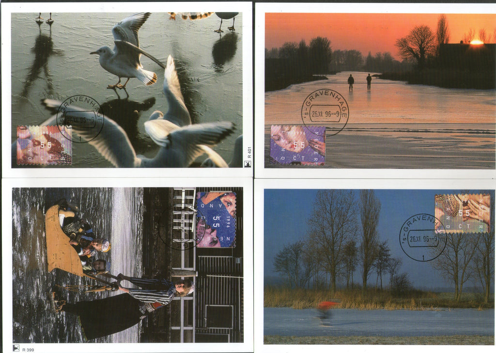 Netherlands 1995 December Stamp College faces hands Bird Set of 4 Max Cards # 35 - Phil India Stamps