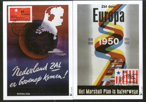 Netherlands 1997 Marshall Plan Anniv. Map Flag Sc 963-4 Set of 2 Max Cards # 39 - Phil India Stamps