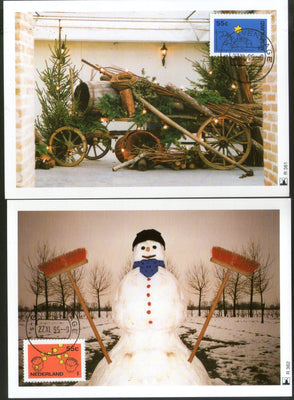 Netherlands 1995 December Stamp Snowman stars Christmas Set of 2 Max Cards # 42 - Phil India Stamps