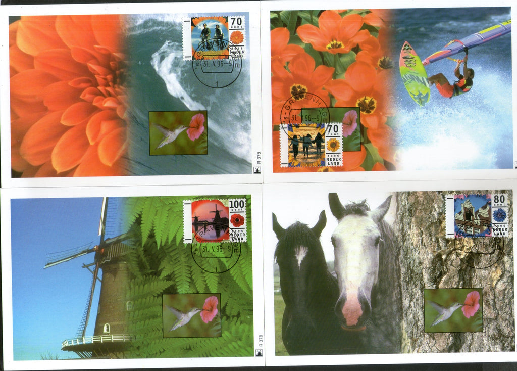 Netherlands 1996 Vacations Horse Flowers Windmills Beach Set of 4 Max Cards # 48 - Phil India Stamps