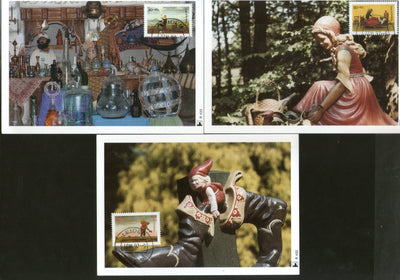 Netherlands 1997 Children's Welfare Fairy Tales Handicraft Pottery Sc B702-4 Set of 3 Max Cards # 54 - Phil India Stamps
