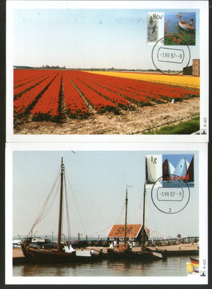 Netherlands 1997 Water Recreation Row Sailboats Ship Transport Sc 967-8 Set of 2 Max Cards # 59 - Phil India Stamps