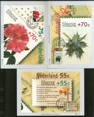 Netherlands 1988 FILACEPT Flowers Flora Sc B635-7 Set of 3 Max Cards # 63 - Phil India Stamps