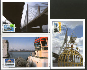 Netherlands 1996 Bridges Sea Canal Tunnel Sc 936-38 Set of 3 Max Cards # 7 - Phil India Stamps