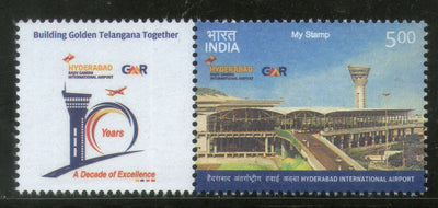 India 2018 Hyderabad Rajiv Gandhi International Airport Aviation My Stamp MNH