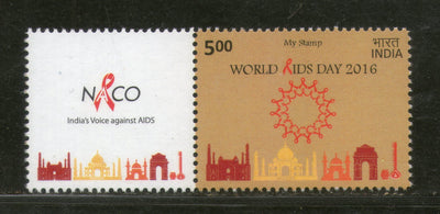 India 2016 World Aids Day Health Taj Mahal Musical Instrument My Stamp MNH # M59 - Phil India Stamps
