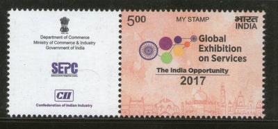 India 2017 Global Exhibition on Services My Stamp Taj Mahal Bahai Lotus Temple MNH # M70 - Phil India Stamps