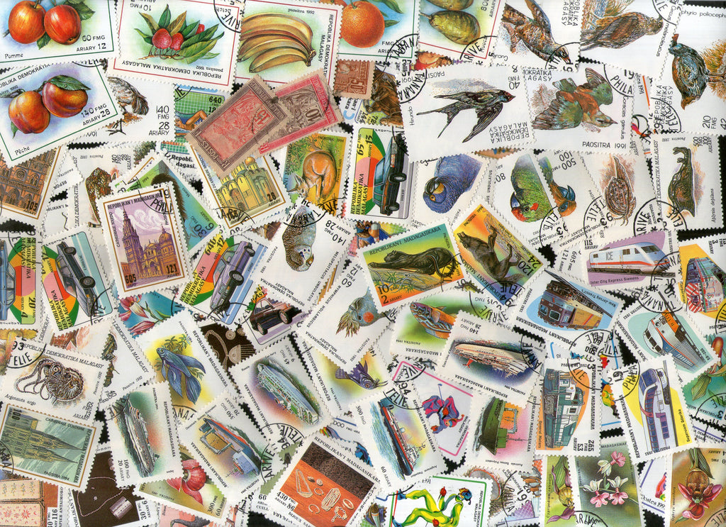 Malagasy 100 Diff Used Stamps on Insect Bird Animal Car Transport Fruit Ship Sport Wildlife - Phil India Stamps
