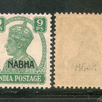 India Nabha State 9ps KG VI Postage Stamp SG 107 / Sc 102 Cat £3 MNH - Phil India Stamps