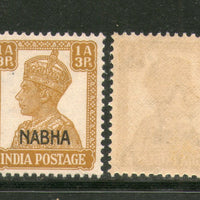 India Nabha State 1An 3ps KG VI Postage Stamp SG 109 / Sc 104 MNH - Phil India Stamps