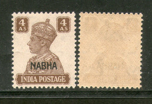 India Nabha State 4As KG VI Postage Stamp SG 114 / Sc 109 Cat. £2 MNH - Phil India Stamps