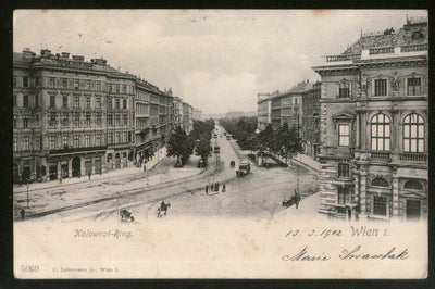 Austria 1902 Kolowrat Ring Wien Vienna Vintage Picture Post Card to France # PC1