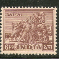 India 1949 6ps Konark Horse Archaeological 1st Definitive Series Phila-D2 1v MNH - Phil India Stamps