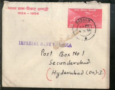 India 1954 2As Stamp Cent. Psenv with Broach Canc to Hyderabad Used # PH3005