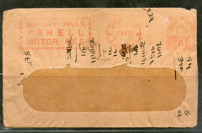 India 1932 1¼An Meter Franking Shell Motor Oils Advertisement Cover # PH3061
