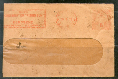 India 1932 1¼An Meter Franking BURN CHUKKER OR RISING Advertisement Cover # PH3065