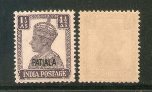 India Patiala State 1½An KG VI Postage Stamp SG 108a / Sc 107 Cat £14 MNH - Phil India Stamps