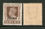 India Patiala State 4As KG VI Service Stamp SG O80 / Sc O72 MNH - Phil India Stamps