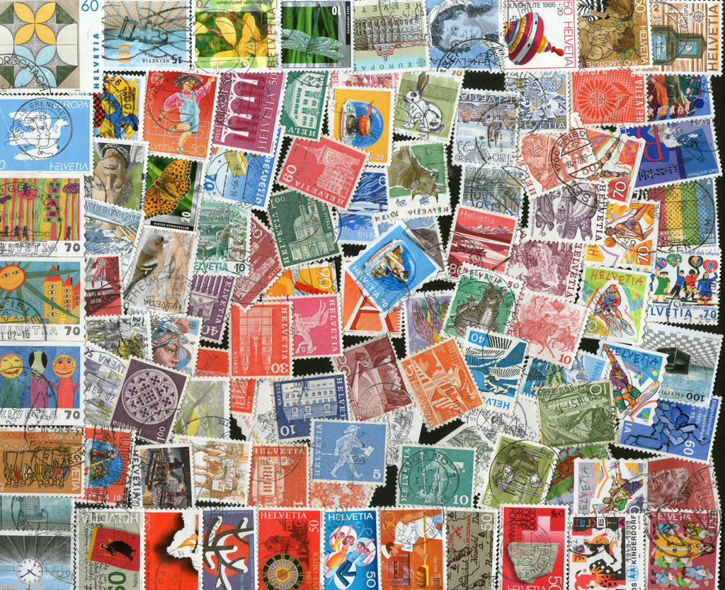 Switzerland 100 Different Used Stamps on Flower Flora Animal Painting Bird Sport - Phil India Stamps