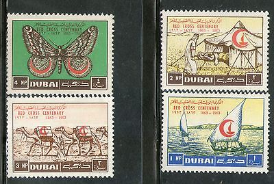 Dubai - UAE 1963 Red Cross Centenary Ship Butterfly Sc 18-21 4v Set MNH # 12509A
