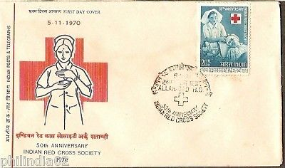 India 1970 Anni. Indian Red Cross Society Phila-523 FDC
