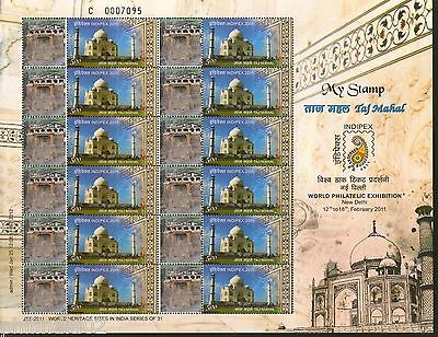 India 2011 Taj Mahal - Ellora Caves Heritage JSS My stamp Sheetlet Architecture