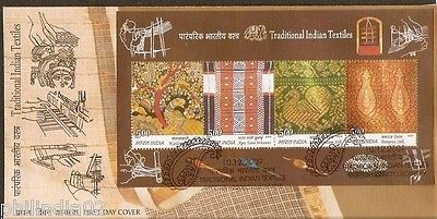 India 2009 Traditional Indian Textile Silk  Embroidery Art Handicraft M/s on FDC