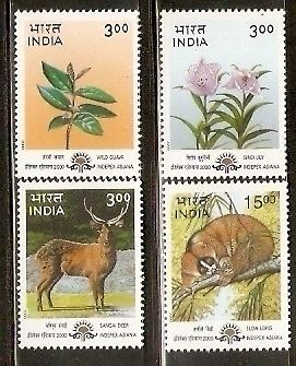 India 2000 Natural Heritage Manipur & Tripura Wild Life Flower Phila-1752-55 MNH