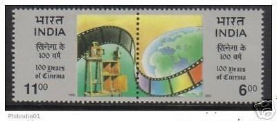 INDIA 1995 100 Years of Indian Cinema Phila-1443 Se-tenant MNH Film Movie