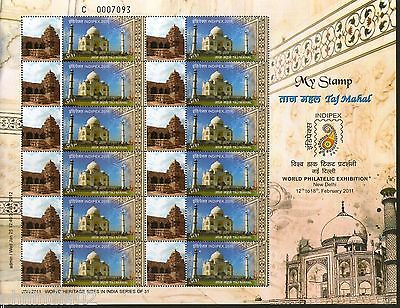 India 2011 Taj Mahal - Pattadakal Temple Heritage My stamp Sheetlet Architecture