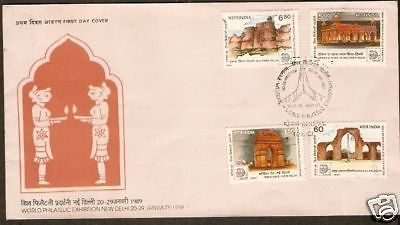 India 1987 Stamp Exibhition New Delhi Landmarks  Phila-1097-1100 FDC