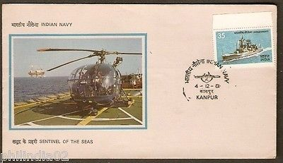 India 1981 Sentinel of the Sea Indian Navy Day Helicopter Phila- 876 FDC