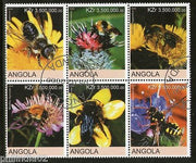 Angola 2000 Honeybees Insect Flower Fauna Setenant BLK/6 Cancelled # 13504