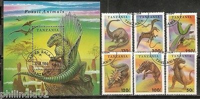Tanzania 1994 Dinosaurs Pre Historic Animal Wildlife Sc 1217-24 6v+M/s Cancelled