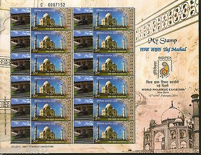 India 2011 Taj Mahal- Ramnagar Fort Jammu JSS My stamp Sheetlet Architecture