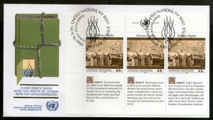United Nations - New York 1990 Human Rights Paintings With Diff. Labels FDC # 122 - Phil India Stamps