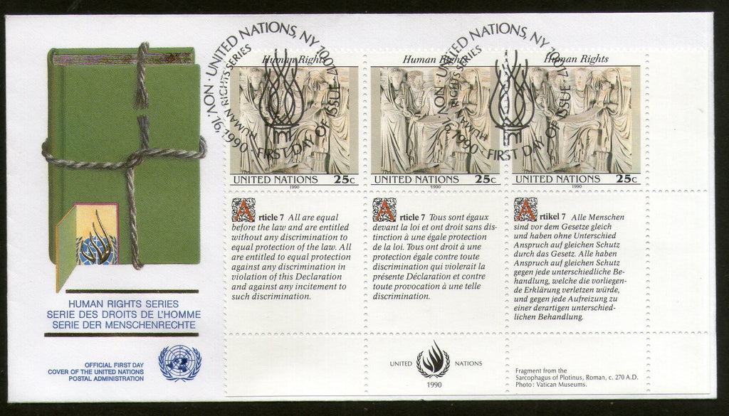United Nations - New York 1990 Human Rights Paintings With Diff. Labels FDC #123 - Phil India Stamps