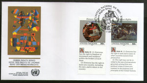 United Nations - New York 1991 Human Rights Paintings With Diff. Labels FDC #125 - Phil India Stamps