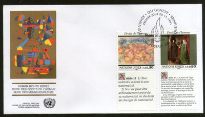 United Nations - Geneva 1991 Human Rights Paintings With Diff. Labels FDC # 126 - Phil India Stamps