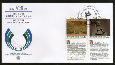 United Nations - Geneva 1992 Human Rights Paintings With Diff. Labels FDC # 135 - Phil India Stamps