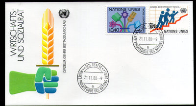 United Nations - Geneva 1980 Economic and Social Council ECOSOC Symbol FDC # 15 - Phil India Stamps