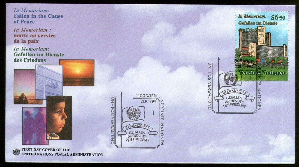 United Nations - Vienna 1999 In Memoriam Fallen in Cause of Peace Flag FDC # 174 - Phil India Stamps