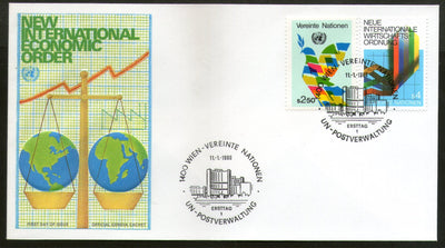 United Nations - Vienna 1980 New Int'al Economic Order Graph Dove Scale FDC # 22 - Phil India Stamps
