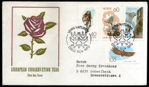 Norway 1970 Nature Conservation Year Watefall Eagle Bird Wolf Animals FDC # 235 - Phil India Stamps
