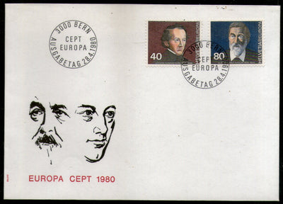 Switzerland 1980 EUROPA Communications Pioneer Politician Sc 657-58 FDC # 265 - Phil India Stamps