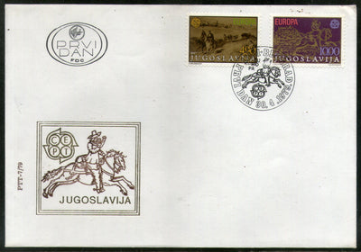 Yugoslavia 1979 Europa Century Belgrade by C. Goebel Painting Sc 2426-7 FDC # 268 - Phil India Stamps