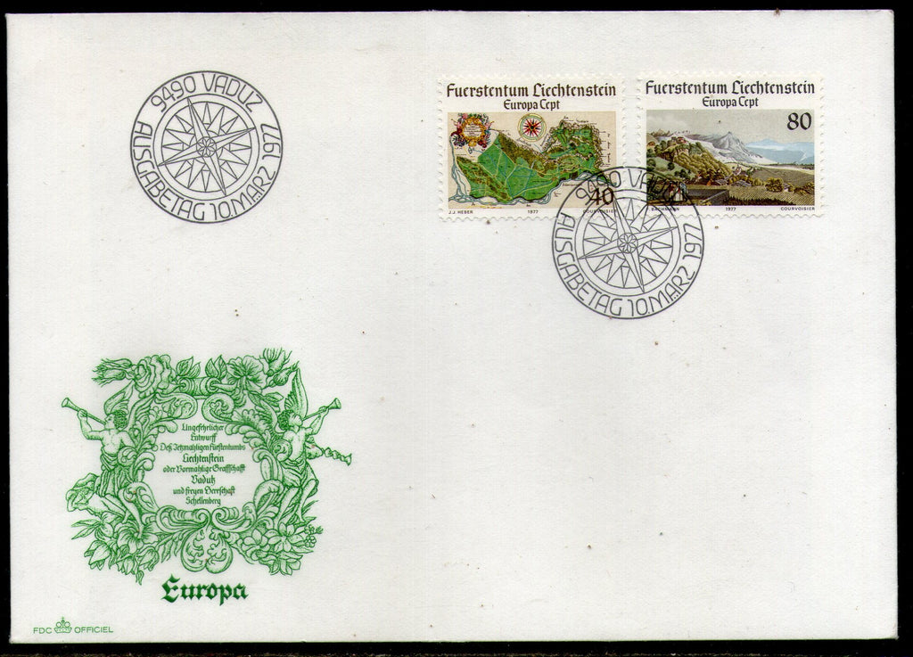 Liechtenstein 1977 Europa Map View Painting by J. J. Heber Sc 615-6 FDC # 270 - Phil India Stamps
