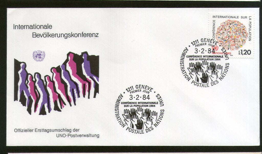 United Nations - Geneva 1984 International Population Conference Hands FDC # 37 - Phil India Stamps